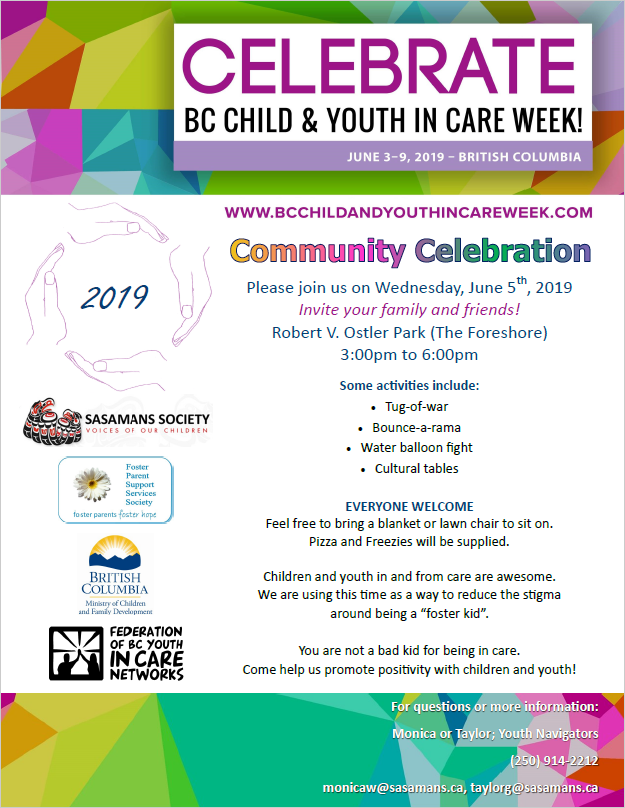 0648416b9b88e We are very excited to announce that we are hosting our third annual event  for BC Child and Youth in Care Week !